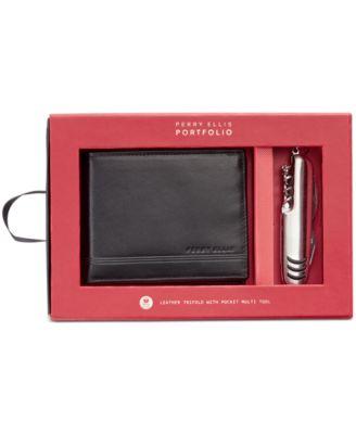 Men's Leather Passcase & Multi-Tool Set