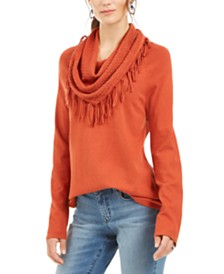 Style & Co Fringe-Trim Cowlneck Sweater, Created for Macy's