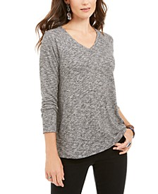 Petite Marled-Knit V-Neck Top, Created for Macy's