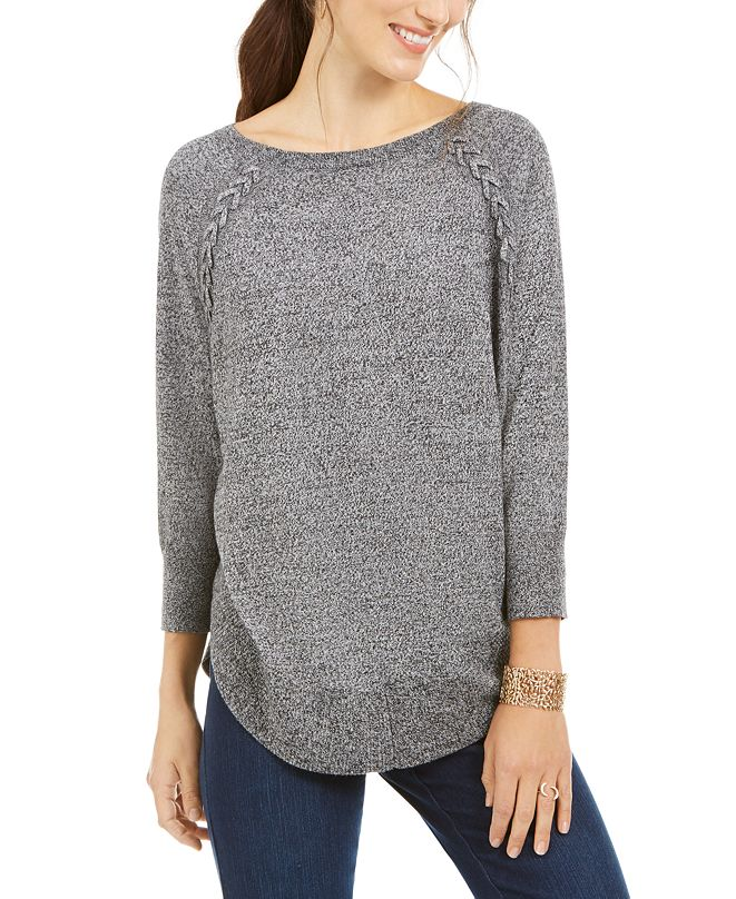 Style & Co Lace-Up Chevron-Trim Sweater, Created for Macy's