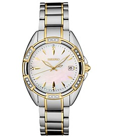 Women's Diamond-Accent Two-Tone Stainless Steel Bracelet Watch 33.3mm