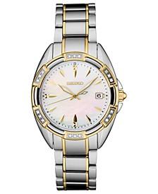Women's Diamond-Accent Two-Tone Stainless Steel Bracelet Watch 33.3mm