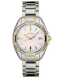 Seiko Women's Diamond-Accent Two-Tone Stainless Steel Bracelet Watch 33.3mm