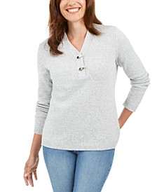 Petite Hardware-Trim Cotton Henley Sweater, Created for Macy's