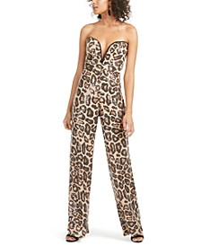 Strapless Sequined Animal-Print Jumpsuit