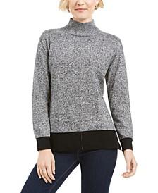 Erin Cotton Colorblocked Mock-Neck Sweater, Cre