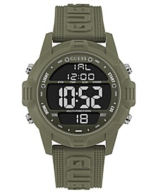 Men's Digital Green Silicone Strap Watch 48mm