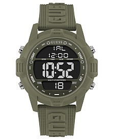 GUESS Men's Digital Green Silicone Strap Watch 48mm