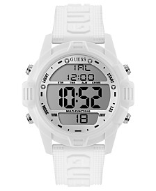 GUESS Men's Digital White Silicone Strap Watch 48mm