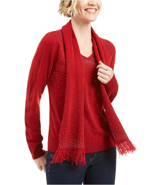 Karen Scott Embellished Scarf Sweater, Created for Macy's