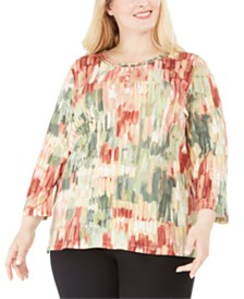 Alfred Dunner Plus Size Cedar Canyon Brushstroke-Print Top