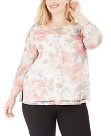 Alfred Dunner Plus Size Boardroom Floral-Print Necklace Top