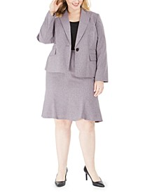 Plus Size Melange Skirt Suit