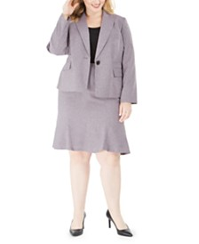 Le Suit Plus Size Melange Skirt Suit