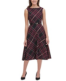 Piper Belted Plaid Fit & Flare Dress