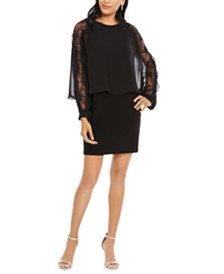 MSK Sequined Lace Overlay Dress