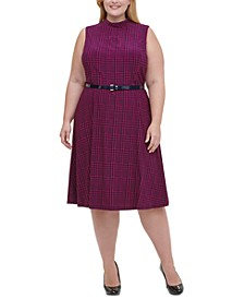 Plus Size Belted Houndstooth Dress