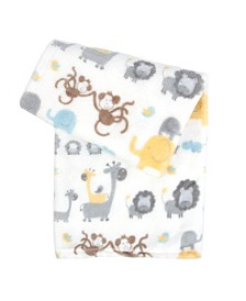 Tadpoles Ultra-Soft Micro Fleece Plush Safari Baby Blanket