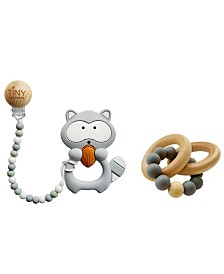Tiny Teethers Infant Silicone and Beech Rattle and Teether Gift Set, Raccoon