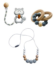Tiny Teethers Infant 3 Piece Silicone and Beech Wood Teething Gift Set, Raccoon