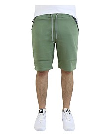 Verde Men's Cotton Blend Tech Fleece Shorts with Zipper Pockets