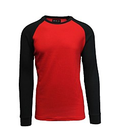 Galaxy By Harvic Men's Long Sleeve Thermal Shirt with Contrast Raglan Trim on Sleeves