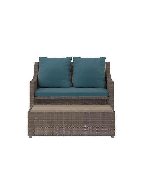 Peachy Outdoor 2 Piece Patio Loveseat And Ottoman Or Table Set Creativecarmelina Interior Chair Design Creativecarmelinacom