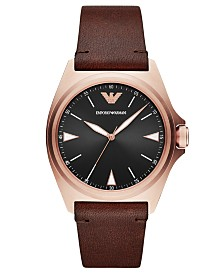 Emporio Armani Men's Brown Leather Strap Watch 40mm