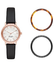 Kate Spade New York Women's Morningside Black Leather Strap Watch 34mm Box Set