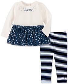 Tommy Hilfiger Toddler Girls Peplum Sweater & Printed Leggings Set