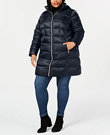 Michael Michael Kors Plus Size Hooded Packable Down Puffer Coat, Created for Macy's