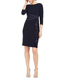 Petite Ruffled Satin & Jersey Dress
