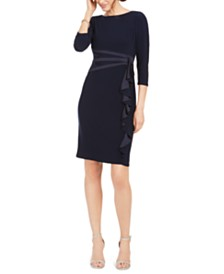 Jessica Howard Petite Ruffled Satin & Jersey Dress