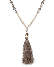 """lonna & lilly Gold-Tone Charm & Tassel Pendant Necklace, 32"""" + 2"""" extender"""