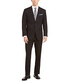 Men's Slim-Fit Stretch Black Dobby Suit