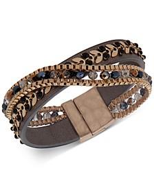 Gold-Tone Stone & Bead Magnetic Wrap Bracelet