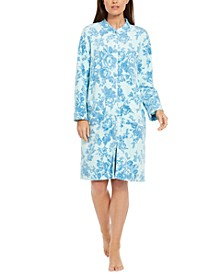 Floral-Print Fleece Snap-Front Robe
