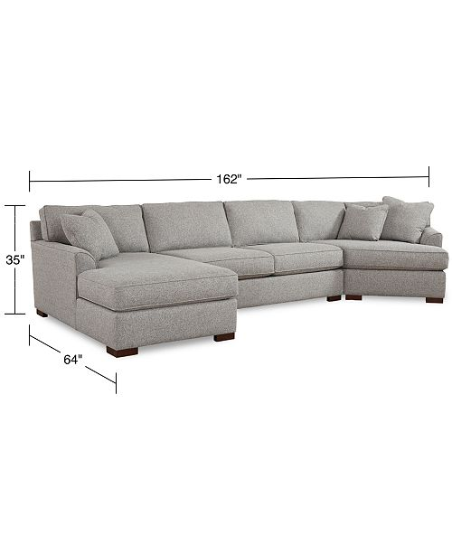 Strange Carena 162 3 Pc Fabric Sectional Sofa With Cuddler Chaise Created For Macys Theyellowbook Wood Chair Design Ideas Theyellowbookinfo