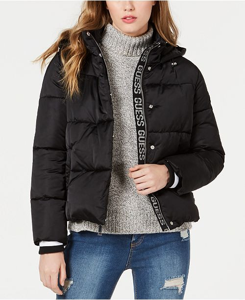 GUESS Bomber Hooded Puffer Coat