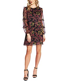 Ruffled Floral-Print Shift Dress