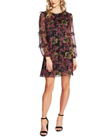 CeCe Ruffled Floral-Print Shift Dress
