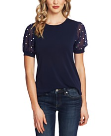 CeCe Puffed-Sleeve Contrast Top
