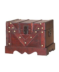 Vintiquewise Small Wooden Treasure Box, Old Style Decorative Treasure Chest with Lockable Latch