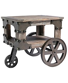 Rustic Industrial Style Wagon, Small End Table with Storage Shelf and Wheels