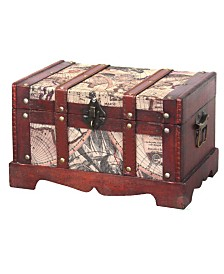 Vintiquewise Old World Map Wooden Trunk