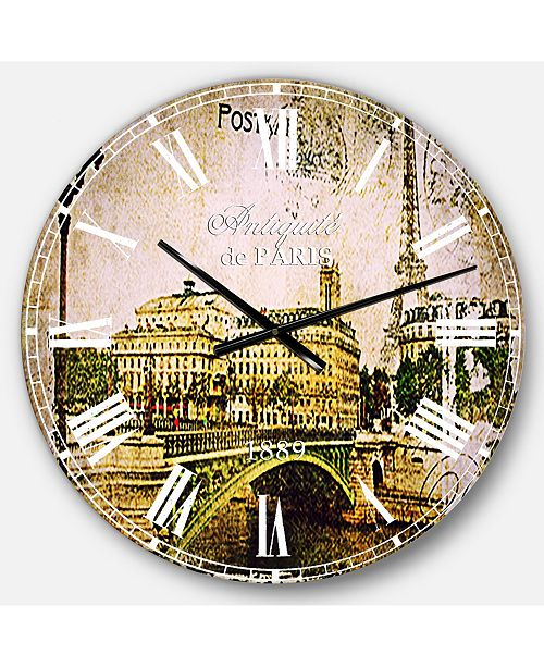 Designart Abstract Cityscape Oversized Round Metal Wall Clock