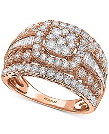 EFFY® Diamond Multi-Row Cluster Statement Ring (1-5/8 ct. t.w.) in 14k Rose Gold