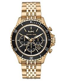 Michael Kors Men's Bayville Gold-Tone Stainless Steel Bracelet Watch 44mm