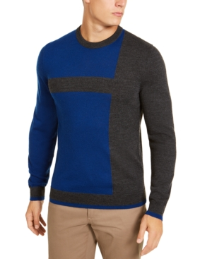 Men's Vintage Sweaters, Retro Jumpers 1920s to 1980s Alfani Mens Merino Blend Blocked Crewneck Sweater Created for Macys $62.99 AT vintagedancer.com