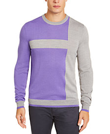 Alfani Men's Merino Blend Blocked Crewneck Sweater, Created for Macy's